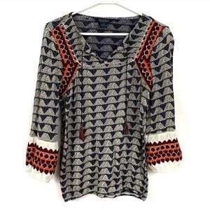 Lucky Brand Boho Top Tassels Navy Orange Small